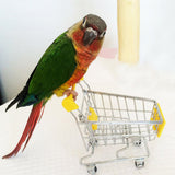 New Pet supplies Parrot toy bird Supermarket Shopping Intelligence Cart Kids Growth Box Funny Toys for birds Red Yellow  hotpink