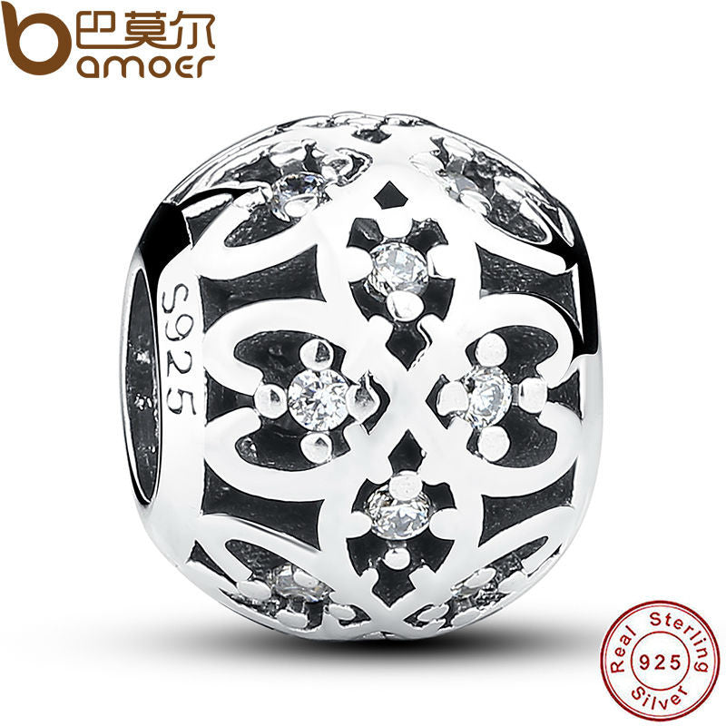 Original Charm Fit Pandora Bracelet 925 Sterling Silver Intricate Lattice Openwork Ball With Clear CZ DIY Jewelry PAS060