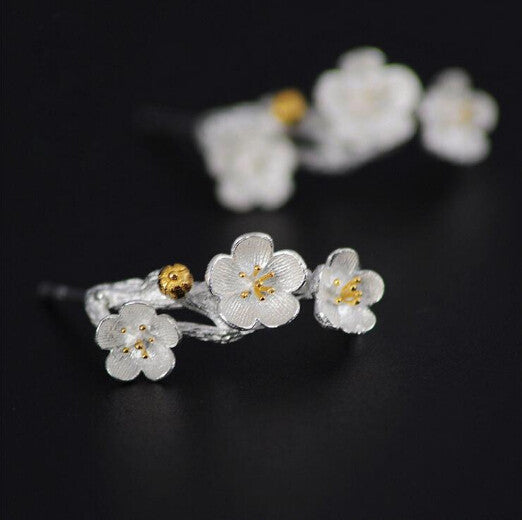 925 Sterling Silver Cherry Blossom Accessories Fashion Summer Jewelry Branch Flowers Stud Earrings For Women Joyas De Plata