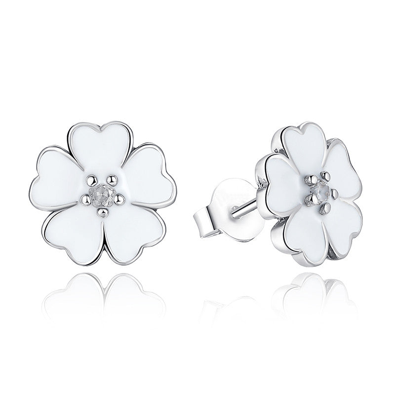 925 Sterling Silver Poetic Daisy Cherry Blossom Stud Earrings Women Mixed Clear CZ Pink Flower Compatible with Pandora Jewelry