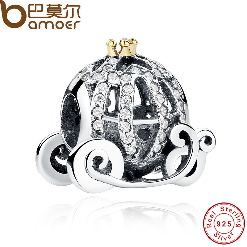 100% 925 Sterling Silver Openwork Cinderella's Pumpkin Charm Fit Pandora Bracelet 14K Gold Plated Crown Jewelry Making PAS027