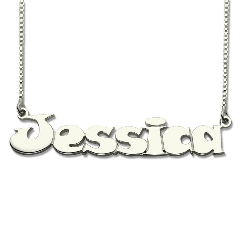 Customized Name Necklace Letter Pendant Comic Style Bridesmaid Gift Sterling Silver