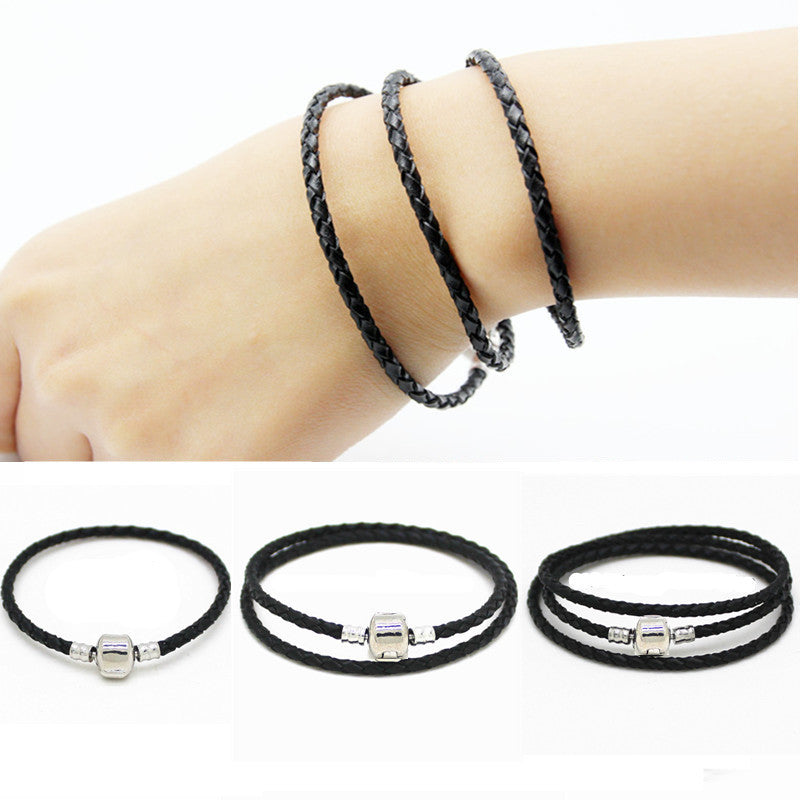 New Fashion charm bracelet men 925 sterling silver jewelry Leather bracelet for Women DIY Fit bracelets & bangles Gfit wholesale