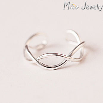 New Arrivals 925 Sterling Silver Rings Oepn Cross Wave Ring For Girl Women Gift Jewelry Drop Shipping