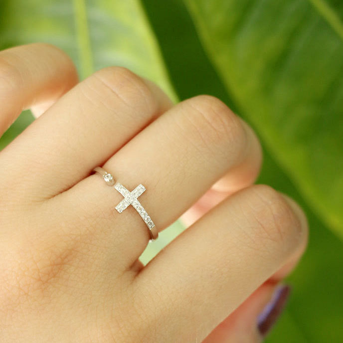 Real 925 Sterling Silver Cross Crystal Rings for Women Lady Fashion Wedding Rings Adjustable Ring sterling-silver-jewelry