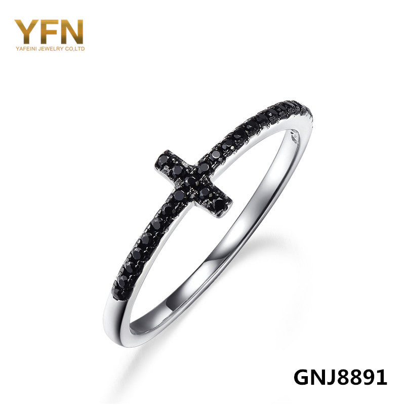 GNJ8891 Genuine 925 Sterling Silver Sideways Cross Finger Ring Classic Jewelry Black Cubic Zirconia Ring Christmas Gift