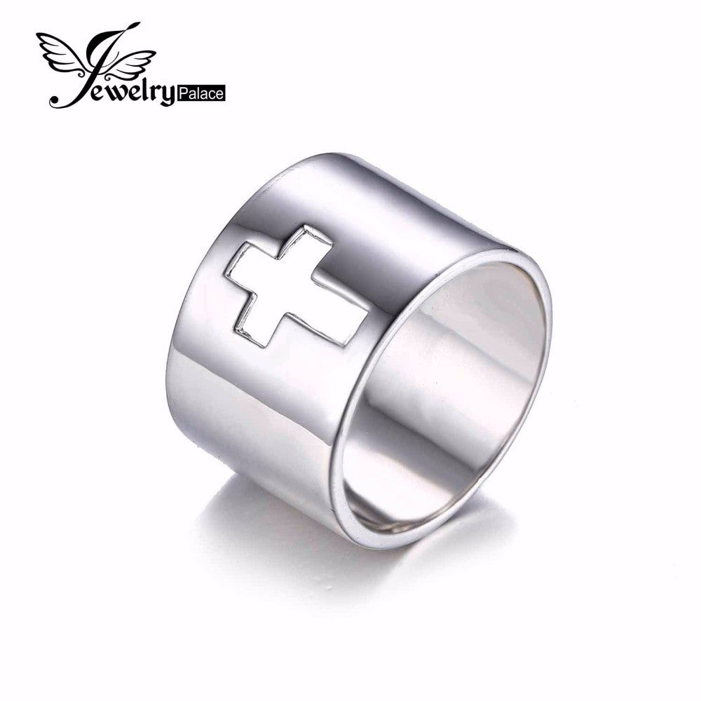 JewelryPalace Genuine 925 Sterling Silver Anniversary Wedding Band Cross Ring  Fine Jewelry For Women Classic Gift For Lovers