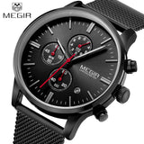 Men Watches 2016 MEGIR New Chronograph Steel Watch Men Luxury Brand Famous Wrist Watch For Man Clock Male Quartz-watch Relojes