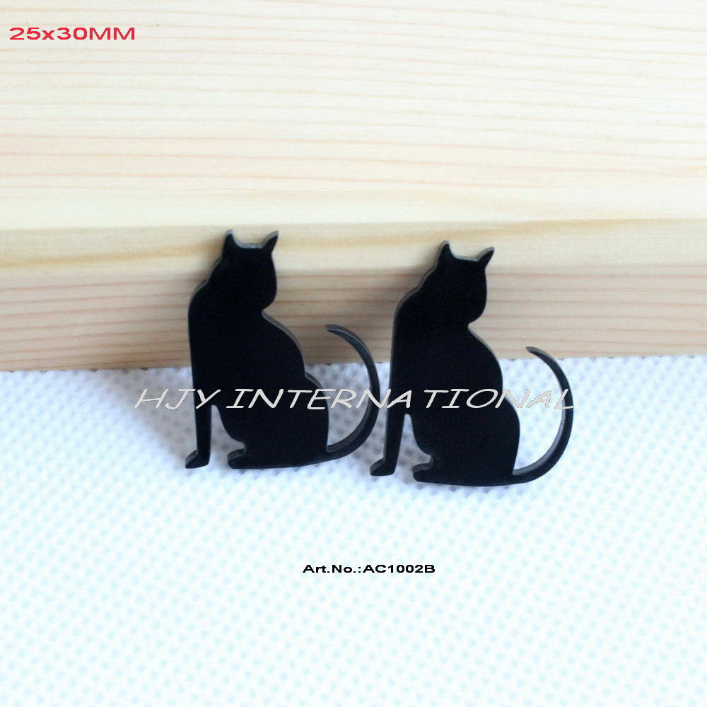 "(80Pcs/lot) 25mm x 30mm Eco-Friendly Black Acrylic Cat Bulk Supplies Laser Cut Earrings Crafts1.2""-AC1002B - Blobimports.com"