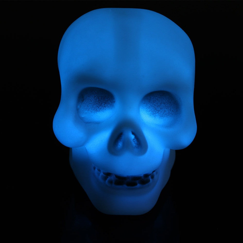 Halloween Colorful Flash LED Skull Night Light Lamp Decoration Gift Favor TR