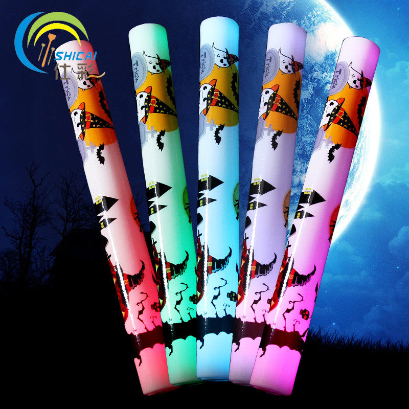 Free delivery 1pcs/ lot 3 Modes Halloween Foam Stick Light Multi Color Stick Glow Foam Stick for Wedding Party Props glow stick