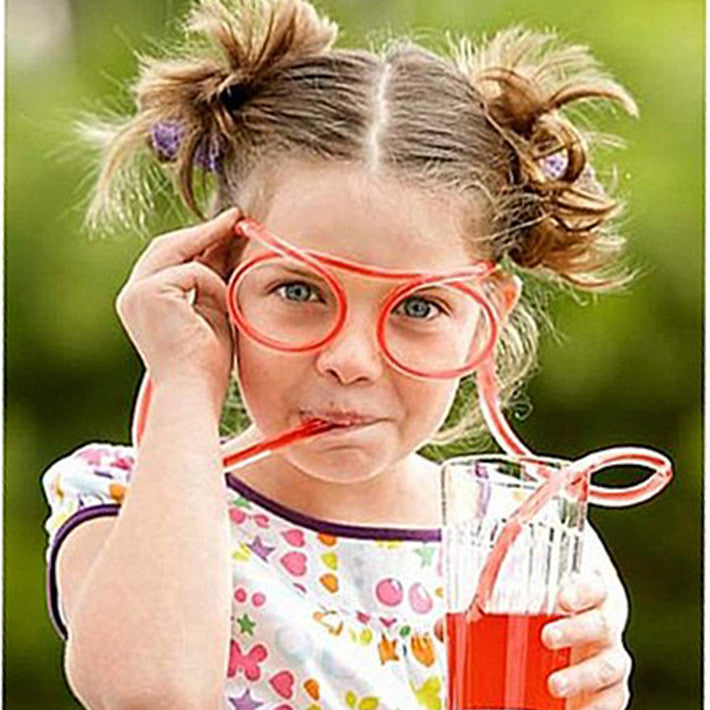 New DIY Straw Children's Creative Cute Cartoon Fun Wacky Glasses Straw Kid's Toys Household Items Drinkware