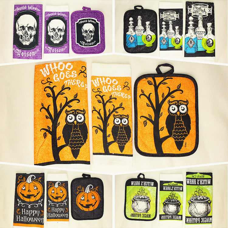 100% Cotton Halloween Towel Hand Potholder Day Pumpkin Ghost Decoration Halloween Decoration - Blobimports.com