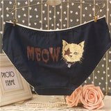 2016 New Printed Cartoon kitty Bears Women Underwear Cueca  Girl Pure Cotton Panties Comfortable Lace Briefs Mutande Donna