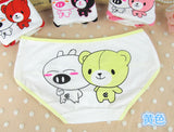 Free Shipping Lovely Women Underwear For Teenage Lingerie Pure Cotton Briefs Teenage Girls Cute Bear Printing Panties 3588
