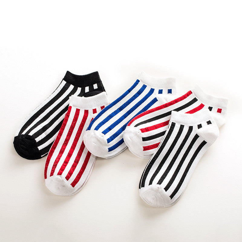 5pairs/lot no show socks men male cotton Boat happy Socks Non-Slip Invisible Stripes geometric socks No Show Slippers Meias