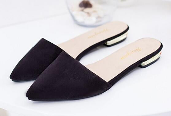 NEW 2016 Summer Fashion Women's Slippers Pointed toe Sandals Shallow Female Flats Pu leather 0.9/2
