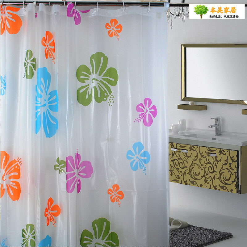 Bath Shower Curtains Water Proof Thicker version PEVA  Frosted shower curtain Bathroom colorful flowers pattern free shipping