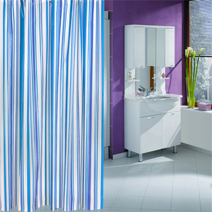 "1 Pc 180x180cm 71"" Waterproof Mouldproof PEVA Shower Curtain Blue Stripe Bath Curtain With Hook - Blobimports.com"