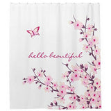 Bathroom Printed Floral Shwer Curtain Waterproof Washable Bath Curtains With Hooks