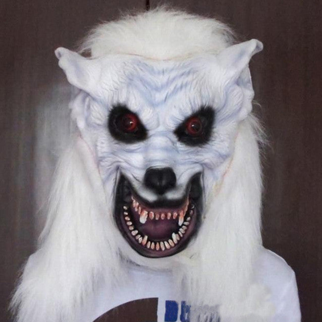 Halloween Costumes White Wolf Head Mask Horror Masquerade Party Funny Face Mask Props Simulation