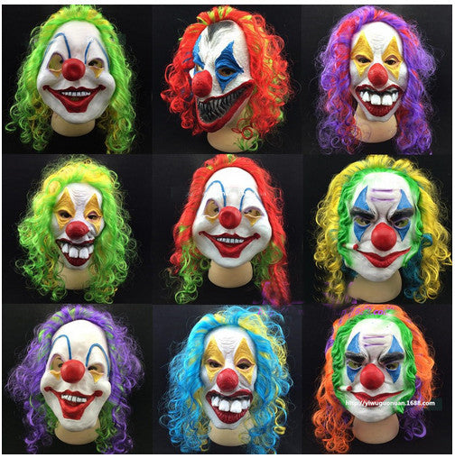 Fun Horrible Scary Mask Party Halloween Fool's Day Clown latex Mask Cosplay Costume Full Face Masks With Colorful Hair Woman Man