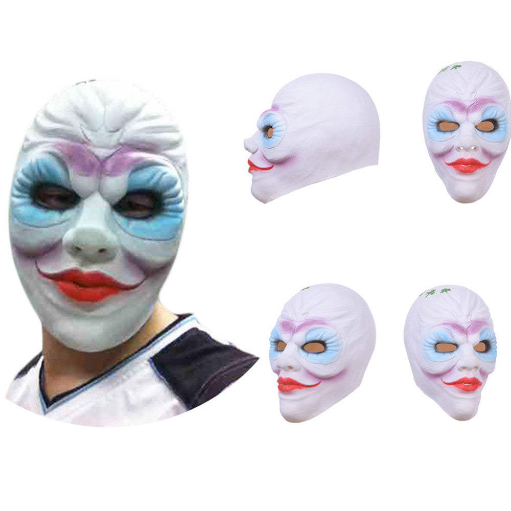 Hot Sale Lady  Clown Latex Mask Full Face Adult Grimace Breathable Scary Mask for Halloween Masquerade Cosplay For Women