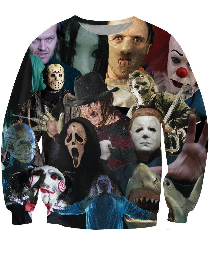 Women/men 3d sweatshirt Cinema Killers Michael Myers/ Leatherface/Hellraiser/ Hannibal hip hop sweatshirts  harajuku  hoodies
