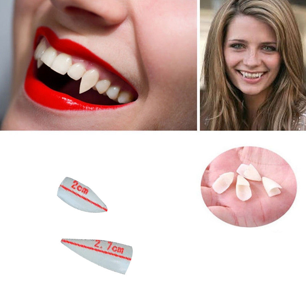 Promotion Horrific 4 PCS Dress Vampire Teeth Halloween Party Dentures Props Vampire Zombie Devil Fangs Teeth Free Shipping