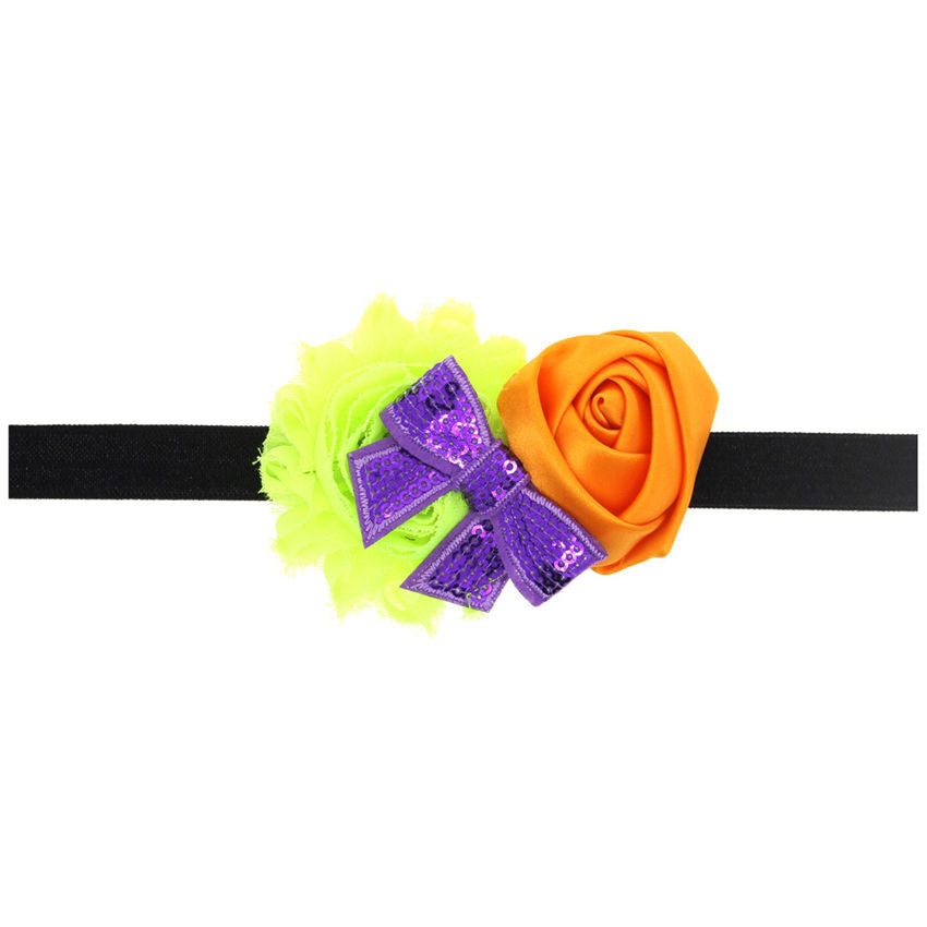 Halloween Baby Hair Band Europe and United States  Baby Hair Accessories Rose flower Mesh Bow Festival Holiday Photo Prop