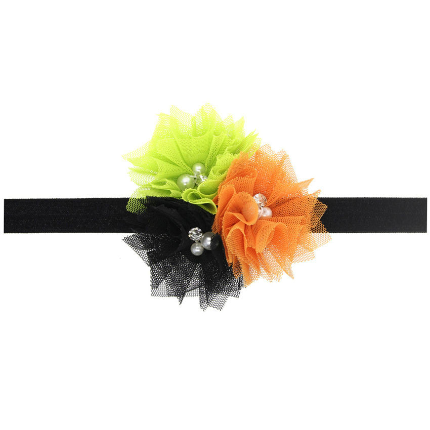 2016 new arrival Halloween Baby flower Hair Band Rhinestone Baby Hair Accessories Mesh  Festival Holiday Photo Prop