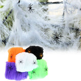 1 pc Spider Web Halloween Props Home Party Bar Decoration Stretchy Cobweb Spider Net A2 - Blobimports.com