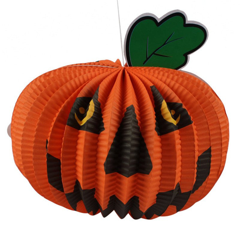 2016 Halloween Paper Pumpkin Lantern Paper Hanging Ghost Shroud Door Hanger Foldable Fun Halloween Party Props Decoration