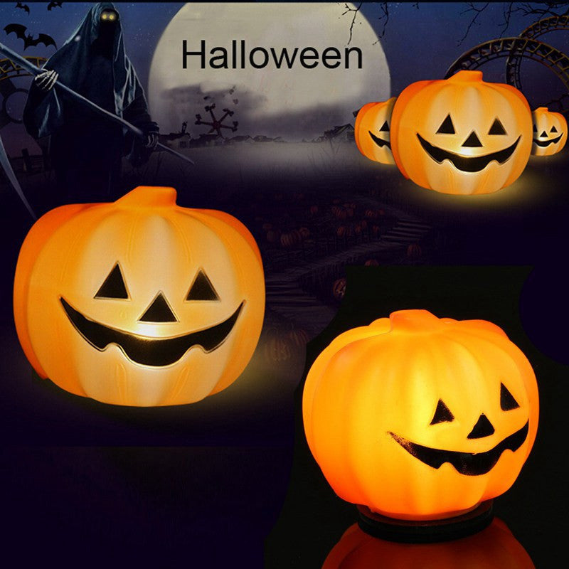 Holiday Halloween Orange Pumpkin LED Lantern Night Light Props Carnival Party Decoration Table Lamp Plastic Jack-o-lantern