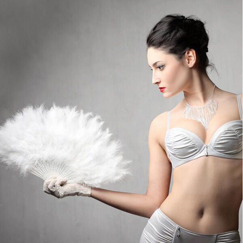 Showgirl Soft Fluffy Wedding Halloween Hand Folding Fan Dress Costume Dance Props Event & Party Supplies