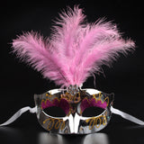 Halloween Party Bright Pink Applique Feather Mask Costume Cosplay Props Venice