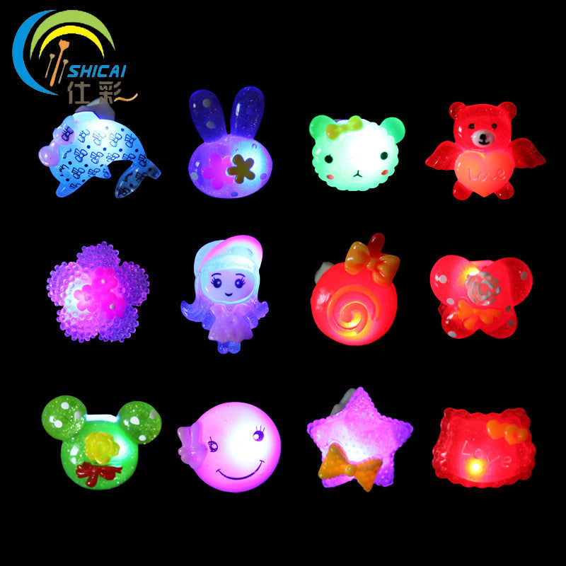 Free shipping cartoon luminous rings prom party wedding dress Halloween props Christmas gifts for children flash Decoration