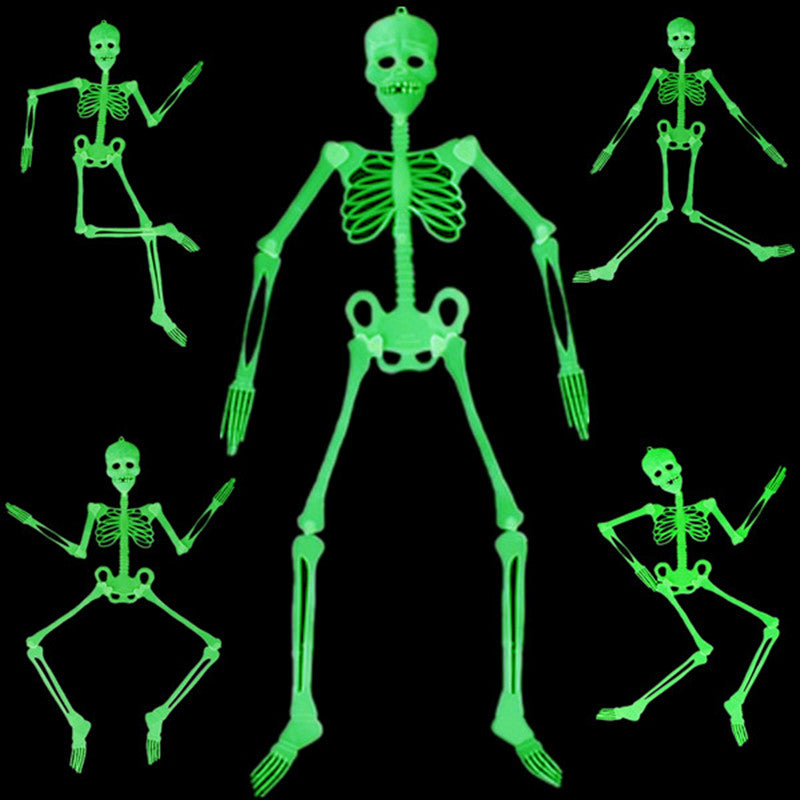 3 Size Horror Luminous Movable Skull Skeleton Halloween Props Glow Evil Party Favors Bars Glow In The Dark Hanging Decorate