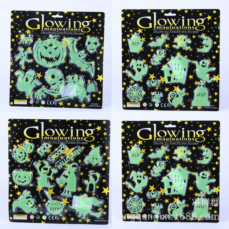 1pack Halloween Supplies Halloween Fluorescent Stickers Prop Window Wall Halloween Pumpkin Ghost Witch Luminous Paste Decoration