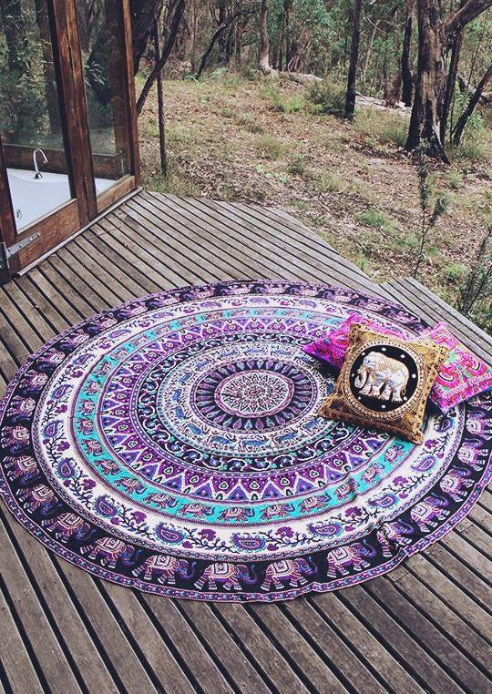 2016 New Summer Large Microfiber Elephant Exotic Round Beach Towels Circle Beach Towel Serviette De Plage Free shipping