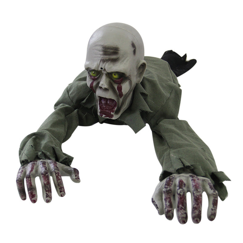 Crawling Zombie Animated Prop Scary Halloween Decoration
