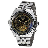 Reloj Hombre JARAGAR Fashion Watch Mens Day Flywheel Auto Mechanical Stell Wristwatch Gift Box Xmas Gift Free Ship
