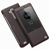2016 Genuine Leather Cover for Huawei Ascend Mate 7 Smart Window View Flip Case with Auto. sleep wake function Magnetic Closed