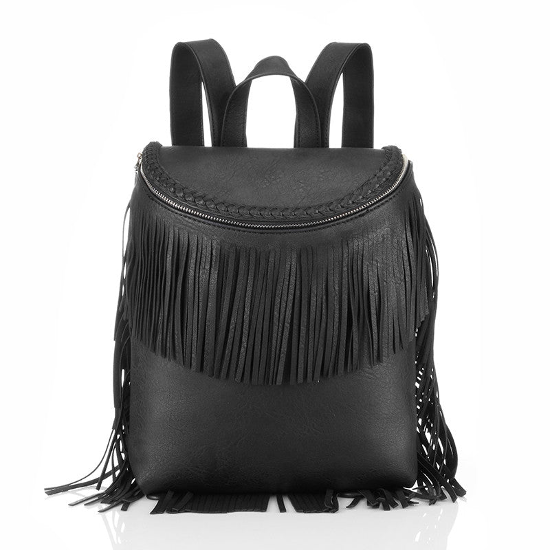Summer new fringed school bags Korean style college student backpack female backpack PU bag for teenagers