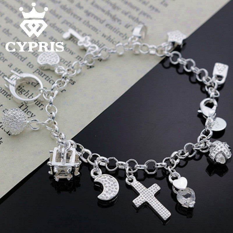 2016 H144 most popular on aliexpress  Hot Charm Bracelet silver Bracelet  Big Austrian Crystals 13 Charms Factory  jewelry
