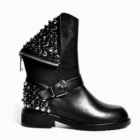 2016 new pu+ genuine leather fashion boots women zipper rivets square heels autumn winter ankle boots sexy martin shoes woman