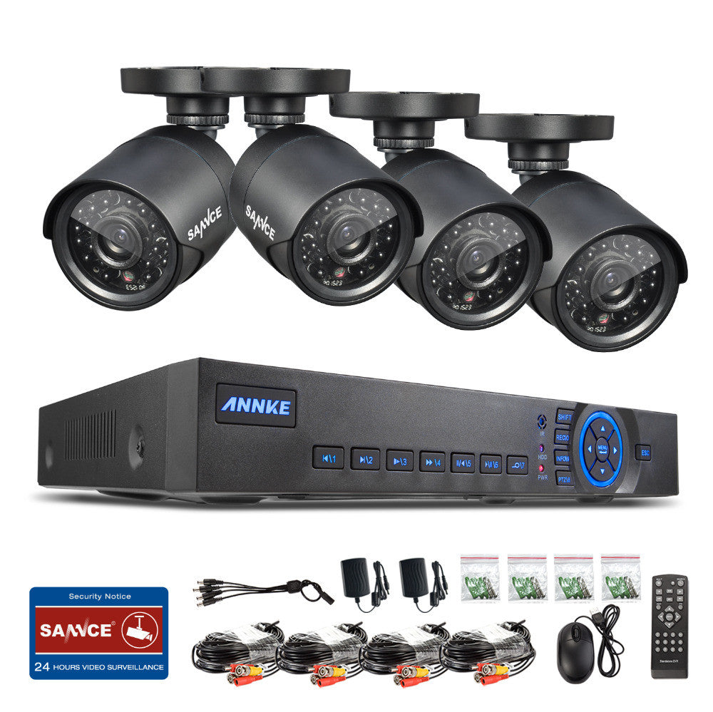 SANNCE 8CH CCTV System 960H DVR 4PCS 800TVL IR Weatherproof Outdoor Camera Home Security System Surveillance Kits Email Alert