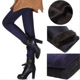 Donna L-XXXL 2016 Winter Jeans Leggings Women Fleeces Inside Thick Warm Pants Slim Denim Trousers Pockets Footless Leggins DDK50