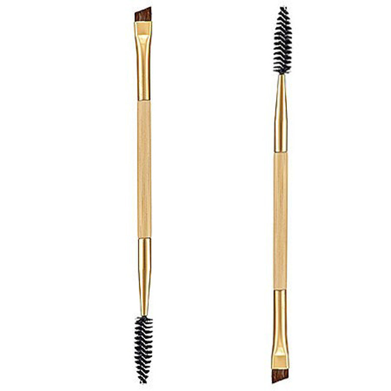 1 PCS New Makeup Tools Bamboo Handle Double Eyebrow Brush+Eyebrow Comb Makeup Brush Wholesale Cosmetics Make Up Brush maquiagem
