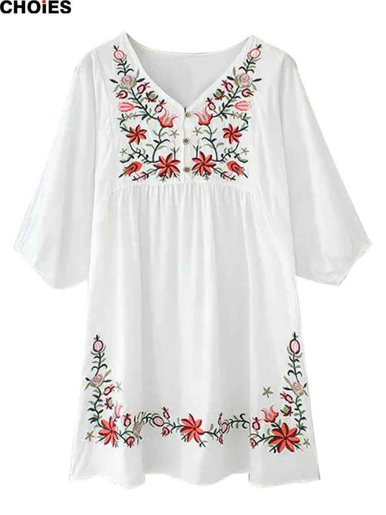 CHOIES Women Casual Summer White Embroidery Floral V-neck Half Sleeve Mini Shift Tunic Dress Loose One Size Fits Most 2016